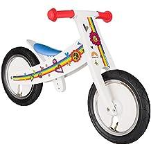 BIKESTAR® Premium 30.5cm (12 pulgadas) Bicicleta sin pedales para niños de 2 años con el marco ajustable ★ Edición de madera natural ★ Blanco ★ Crece a la vez que su hijo!