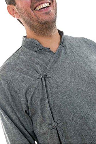 - Chemise ethnique asiatique col mao boutons coton Urhani - Gris