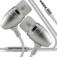 (Silver) Vodafone Smart N8 stylish Quality Aluminium In Ear Earbud Stereo Hands Headphones Ear phone Headset with Built in Micro phone Mic & On-Off by i -Tronixs