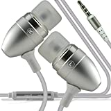 (Silber) MEDION LIFE P4501 stilvolle Qualität Aluminium In-Ear-Ohrhörer Stereo Hände Kopfhörer Ohrtel Headset mit eingebautem Mikro Telefon Mic & On-Off von i -Tronixs