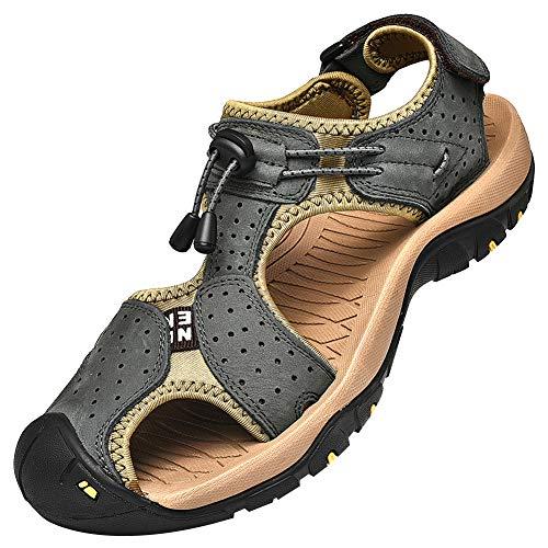 Sandalen Große Füße (rismart Herren Closed Zu Draussen Sport Trekking Schuhe Leder Sandalen SN1505(Dunkel Grau,44 EU))