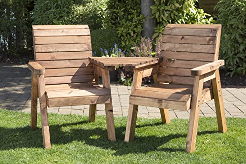 Image of UKG Heavy Duty Love Seat Wooden 2 Seater Garden Bench Triangular Table Fully Assembled UK Made