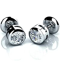 Noël Spécial... 0,20carat Ensemble serti de diamant rond Boucles d'oreille à tige Or blanc 18K