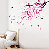 Walplus (TM) Swallows & Flowers Wall Stickers - Home Decoration, 150cm x 80cm, PVC, Removable, Self-Adhesive, Pink