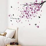 Walplus Stickers muraux fleurs roses/hirondelles/décor pour chambre d'enfants
