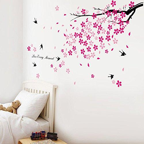 walplus-adhesivos-decorativos-para-la-pared-diseo-de-rbol-en-flor-y-golondrinas-color-rosa-y-negro
