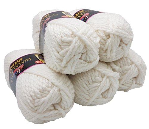 5 x 100 Gramm Strickwolle weiß 80101, 500 Gramm Wolle Super Bulky zum Stricken und Häkeln