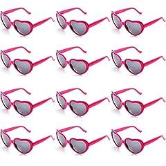 Idea Regalo - OAONNEA 12 Pezzi Set Party Occhiali da Sole Colorati a Forma di Cuore per Festa Favori e Festival da Donne Bambini (12hotpink)