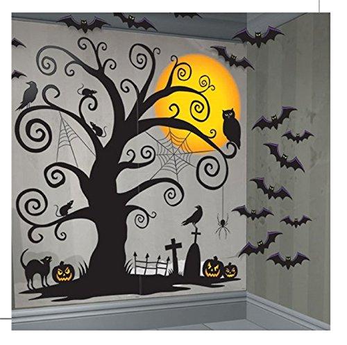Fancy Me Große 33 Stück gruselige Spuk Baum Fledermäuse Halloween Wand Dekoration Party Szene Setter Selfie Station