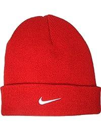 Nike Kinder Wollmütze, Knit Hat Beanie Strickmütze, Weiches, dehnbares Material aus 100% Acryl, Rot, Größe Youth Small / Medium Child Unisex
