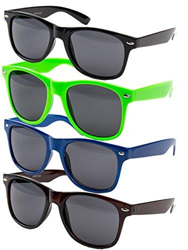 4 er Set EL-Sunprotect® Nerdbrille Brille Nerd Sonnenbrille Hornbrille Way Blau Schwarz Neongrün Braun
