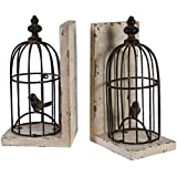 """A&B Home Bird Cage Bookends, Set Of 2, 5.5"""" X 4.5"""" X 10"""""""