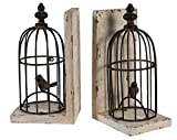 "A&B Home Bird Cage Bookends, Set of 2, 5.5"" x 4.5"" x 10"""