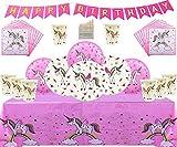 Unicorn Party Supplies Set da tavola Unicorno Compleanno Decorazione Piatti USA e Getta Tovaglioli Tovagliolo Banner- Tema Rosa Servire 16 Ospiti