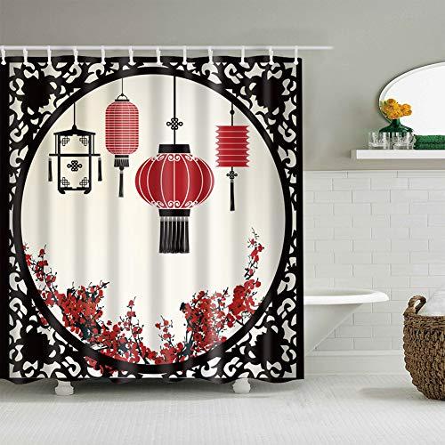 fdswdfg221 Chinesischen Stil Papier-geschnittenen schwarzen runden Rahmen rote Laterne 1 Pflaumenbaum 3D-Digitaldruck feuchtigkeitsbeständig Mehltau Bad Vorhang 180X180CM + 12 Haken (Rot Laternen Papier Schwarz Und)