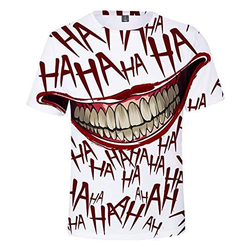 Männer Kostüm Joker - Ywfzzxs T-Shirt 3D Tops Mode-T-Shirts Unterhemden Kurzarm Unisex Neuheit Kostüm HD Anime Druck HaHa Joker