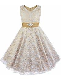 iiniim 4-16 Años Vestido de Ceremonia para Niñas Chicas Vestido de Princesa Encaje