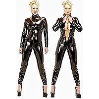 Mirlun Schwarz Sexy Frau Latex Catsuit Schick Bodysuit , s