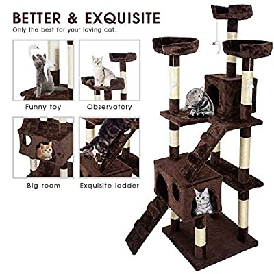 Masthome Cat Tree Towers with Cat Wand Multi-level Large Cat Scratcher Activity Centre with Sisal Scratching Posts?50 W x 50 D x 170 H CM? by Masthome