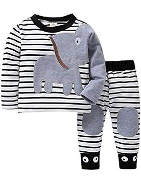 K-youth Ropa Bebé Recién Nacido, Ropa Bebe Niño Camisetas de Manga Larga Tops de Elefante y Rayas Pantalones Conjuntos...