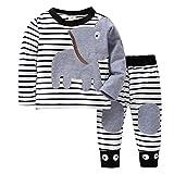 K-youth Ropa Bebé Recién Nacido, Ropa Bebe Niño Camisetas de Manga Larga Tops de Elefante y Rayas Pantalones Conjuntos Otoño/Invierno 0-24 Meses(Blanco, 0-6 Meses)