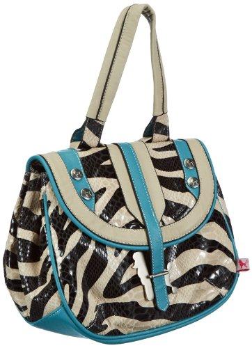 poodlebag Schultertasche Funkyline Exotic Remix in versch. Design, Zebra Petrol oder Pink Snake Damen Handtasche Pink Zebra Haut