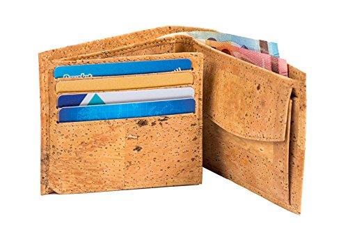 Kork-Geldbörse, veganes Portemonnaie mit Münzfach & Sichtfach, nachhaltiger Designer-Geldbeutel