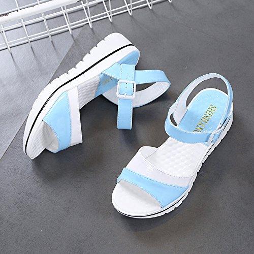 Lgk & fa estate sandali da donna estate morbido fondo all-match donne incinte con piatto sandali scarpe sandali semplice, studenti blue
