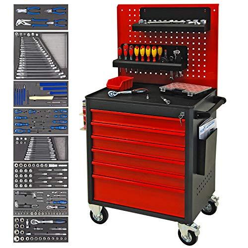ADB Werkstattwagen Werkzeugwagen Werkzeug Rollwagen bestückt gefüllt mit Werkzeug 90-teilig +...