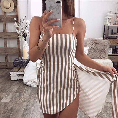 CEGFXCSW Kleid Frauen Urlaub Sommerkleid 2019 Damen Sleeveless Spaghetti Striped Cocktail Strand Dünnes Minikleid Kurze Kleider, Multi, L - Multi-striped Kleid