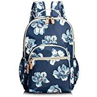 Leaper Floral Water-Resistant School Backpack for Girls Travel Bag Bookbag Blue