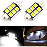 Hrph 2pcs HID Blanco 36 / 39mm Festoon Canbus coche LED Vistor Vanity Espejo Bombillas