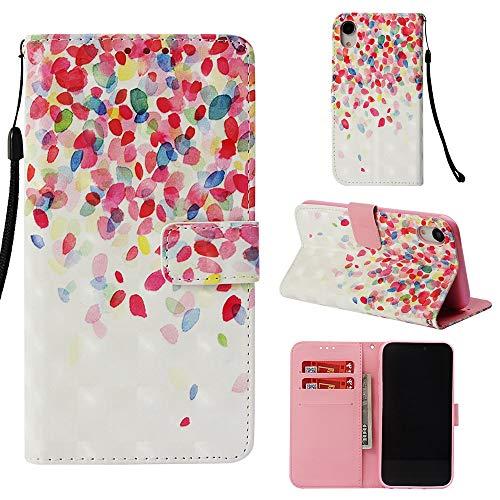 MSOSA iPhone XR Hülle, Premium 3D Gemusterte PU Ledertasche Flip Hülle für iPhone XR_Blütenblatt -