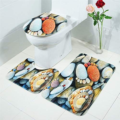 OMUSAKA Badezimmer-Matten-Satz-rutschfeste Flanell-waschbare Küchen-Bad-Matten-Teppich-Toiletten-Badezimmer-Wolldecke