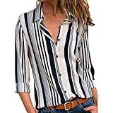 MEIbax Frauen Casual Cuffed Langarm V-Ausschnitt Button up Gestreiftes Hemd Bluse Tops Oberteile Casual Vintage Tunika
