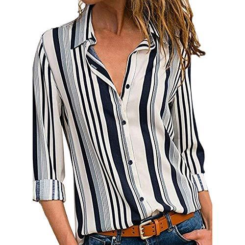 MRULIC Damen Shirt Tie-Bow Neck Striped Langarm Spleiß Bluse Gestreift Damen Tragen Tops Pullover (EU-40/CN-L, W-Weiß) -