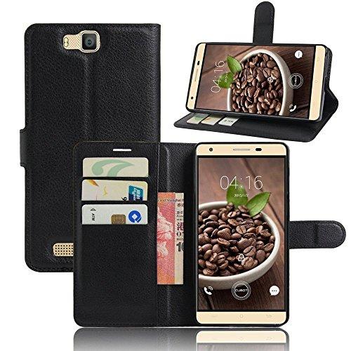 Tasche für Cubot H2 Hülle, Ycloud PU Ledertasche Flip Cover Wallet Case Handyhülle mit Stand Function Credit Card Slots Bookstyle Purse Design schwarz