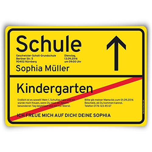 Einschulung (10 Stück) als Ortsschild / Ortstafel Schild Motiv Einladung ()