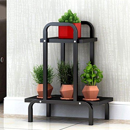 Support de fleur de bois ---- Noir / Blanc Fer Deux Couches Conseil Creux Support De Fleurs Multicouche Intérieur Au Sol Balcon Tablette Salon Plante Fleur Stand Porte-pot 44 * 24 * 55cm --- Veuillez vous référer à la description ( Couleur : Noir )