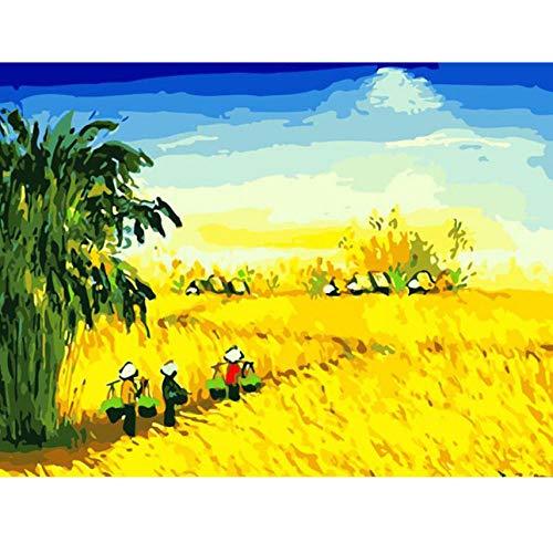 Türkis Ernte (Waofe Ernte Manor Weizenfeld Landschaft Diy Digitales Malen Nach Zahlen Moderne Wandkunst Leinwand Malerei Einzigartiges Geschenk Wohnkultur- With Frame)
