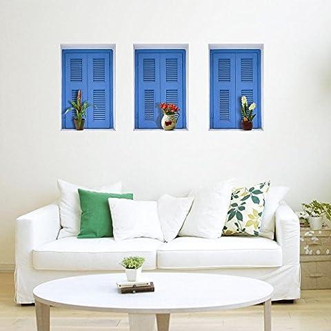 LXPAGTZ Kreative Simulation 3D Stereo Wand Aufkleber Wandbild Tapete Hintergrund Schlafzimmer dekorieren das Wohnzimmer Sofa simuliert Porzellan Regal Schrank Schuh Gepäckträger die Fenster Sticker grün Farbe #002 , J