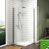 Duschkabine Eckeinstieg 75x90x185cm Duschabtrennung mit Schwingtür, Meykoe Duschwand Glas Duschtür aus 6mm ESG Sicherheitsglas mit Nano-Beschichtung