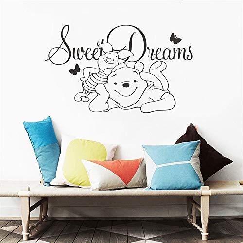Winnie the Pooh Vinyl Wandaufkleber Baby Sweet Dreams Vinyl Wandtattoo Kinder Schlafzimmer Cartoon Bär Tier Kinderzimmer Dekor (Pooh-der-bär-wand-dekor)