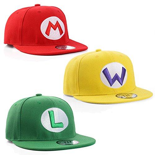 True Heads Herren Baseball Cap Rot/Grün/Gelb Einstellbar (Super Mario Wario Kostüm)