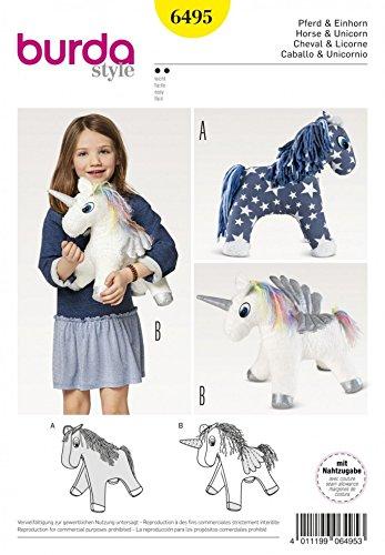 Burda-travaux-manuels-Patron-de-couture-6495-Peluche-cheval-et-licorne-Jouets