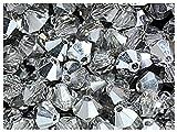 30stk 4mm MC Bicone Beads - Tschechische Glasperlen in Form eines facettierten Doppelkegels, hergestellt durch maschinelles Schneiden, Crystal Labrador (Crystal Silver)