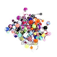 FACILLA® 50 MIX Assorted Ball Belly Navel Barbell Bars Rings Body Piercing [Jewellery]