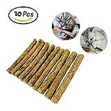 Makone Catnip, 10 Palitos De Hierba Gatera De Matatabi para Gatos Natural Cuidado Dental Chew Catnip Sticks para Dientes Diámetro de Limpieza 10-15mm