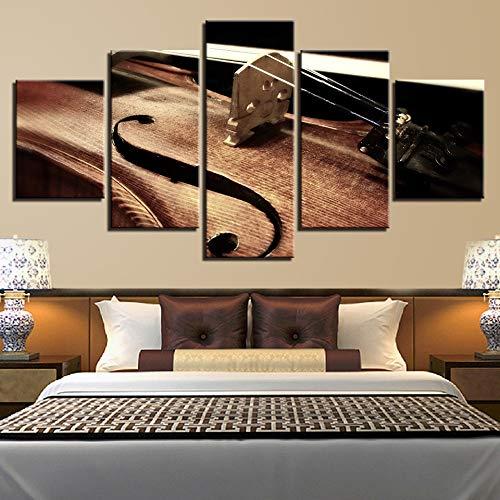 5 Stück HD Gedruckt Leinwanddrucke Wandkunst Leinwand Bilder Drucke Violine Saite Musikinstrumente Gemälde Modular Poster Bebroom Decor (Musikinstrumente, Gemälde)