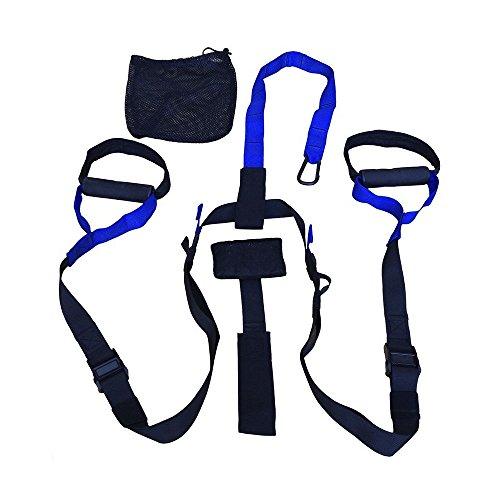 Schukaps Fitness - Système de suspension BLEU, Sangles de Musculation des kits à Domicile Piscine Gym, avec ancre de porte, sangles, boucles en métal - Suspension Trainer Straps Home GYM - BLUE
